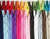 SALE 50 Assorted 9 and 10 Inch YKK Zippers red orange yellow green blue purple pink brown black white