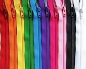 8 Inch Ykk Zipper Rainbow Sampler Pack 10 pcs red orange yellow green blue purple pink black white