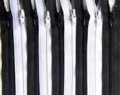 Black and White 9 Inch Ykk Zipper Bundle 20 Zippers