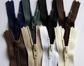 Earth Tones 12 Inch YKK Zipper Sampler Pack dark brown, cream, black, white, slate gray, navy blue, chocolate and beige