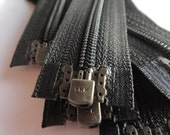 Five 14 Inch Black 3mm Nylon Coil YKK Separating Zippers Color 580