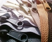 4.5 Ykk Purse Zippers with a Long Handbag Pull (8) Pieces Neutral Colors- Available in 7,8,9,10,12,14,16,18 and 24 Inches