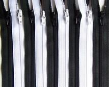 SALE Wholesale YKK Zipper 10 Inch Black and White Bundle (50) Pieces- Bulk Zippers