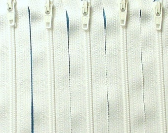 Ten 18 Inch White YKK Zippers Color 501