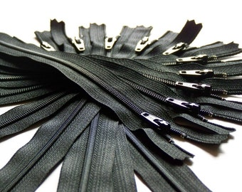 Ten 11 Inch Black Zippers YKK Color 580