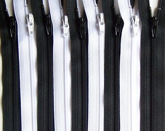 SALE Wholesale YKK Zipper 10 Inch Black and White Bundle (50) Pieces- Bulk Zippers