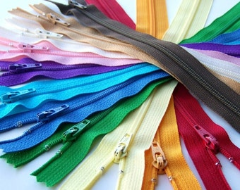 SALE 100 Assorted 9 and 10 Inch YKK Zippers red orange yellow green blue purple pink brown black white