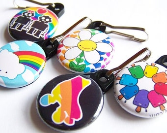 Rainbow Zipper Pulls A Collection of 5  kawaii cloud rollerskate robots in love daisy and popsicles