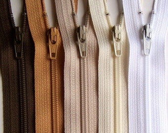 12 Inch YKK Zipper Bundle NATURALS brown tan beige vanilla white 10 pcs