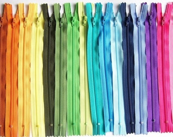 SALE 25 Assorted 9 Inch YKK #3 Coil Zippers- mix of lights, brights, darks and neutrals- perfect for skirts, dresses, pouches, and more!
