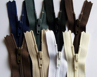 Earth Tones 14 Inch YKK Zipper Sampler Pack dark brown, cream, black, white, slate gray, navy blue, chocolate and beige
