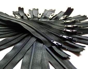 SALE Twenty-five 11 Inch Black Ykk Zippers Color 580
