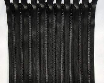 Five 8 Inch Black 3mm Nylon Coil YKK Separating Zippers Color 580