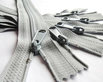 Ykk Zippers 5 Gray 10 Inch Long Pull Purse Zippers