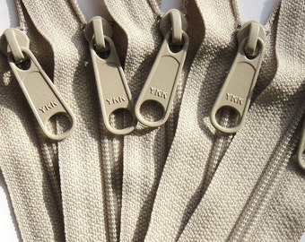 4.5 Ykk Purse Zippers with a Long Handbag Pull - 5 Pieces - Color 572 Beige - Available in 7,8,9,10,12,14, 16, 18 , 22,24 and 30 Inches