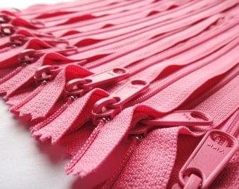 YKK Zippers- Long Handbag Pull Purse Zippers Color 515 Princess Pink (5) Pieces- Available in 7,8,9,10,12,14,16 and 18 inches