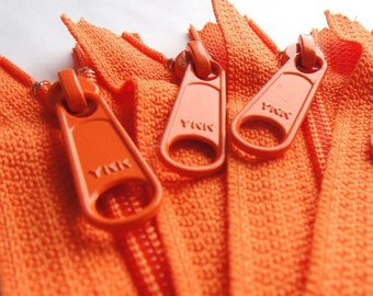 Handbag Zippers 5 Carrot Orange Ykk Zippers 10 Inch Long Pull Purse Zippers Color 523
