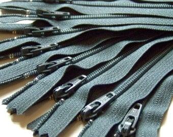 Ten 18 Inch Slate Gray YKK Zippers Color 914