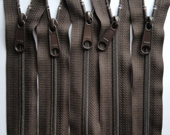 Five Autumn Brown 18 Inch 4.5 Ykk Purse Zippers with a Long Handbag Pull Color 141