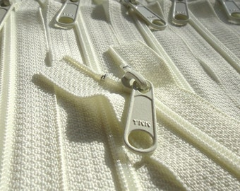 YKK Long Handbag Pull Purse Zippers- 5 Pcs-  Color 502 IVORY- Available in 7,8,9,10,12,14,16,18,24 and 30 Inches