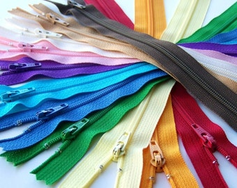 YKK Zippers 25 Assorted 10 Inch Zippers red orange yellow green blue purple pink brown black white