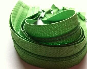 Five 16 Inch YKK Long Handbag Pull Purse Zippers Color 536 SPRING GREEN