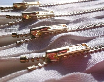 Brass Zippers- YKK metal teeth zips- (5) pieces - White 501- Available in 5,6,7,8, 9,12,14,16 and 18 Inch