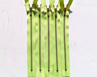Brass Zippers- 8 inch closed bottom ykk metal teeth zips- (5) pieces - Neon Green 535