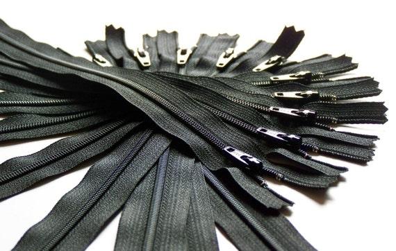Ten 20 Inch Black Zippers YKK Color 580