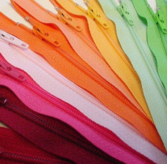 SALE 50 Assorted 5 Inch Zippers red orange yellow green blue purple pink black white brown gray
