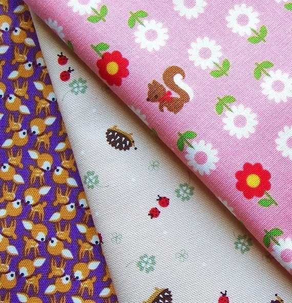 Kawaii Japanese Fabric POUCH CUT combo pack- hedgehogs flowers and deer