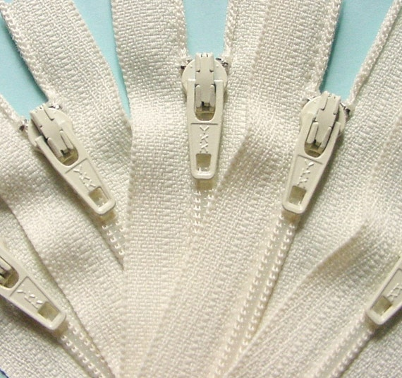 Ten Vanilla 7 Inch Zippers YKK Color 121