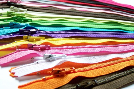SALE 50 Assorted 12 Inch Zippers red bright orange lime green yellow navy blue purple pink gray teal turquoise dark brown