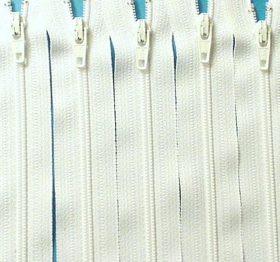 Ten 20 Inch White Zippers YKK Color 501