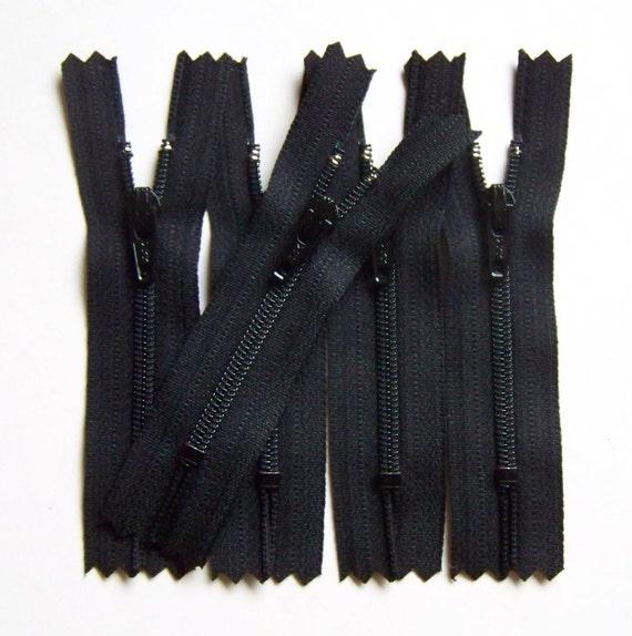 Ten Black 3 Inch Zippers YKK Brand Color 580