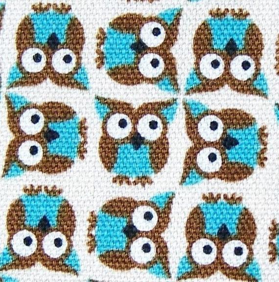 Turquoise Owls on Cream Japan Import Fabric by Kokka Half Yard