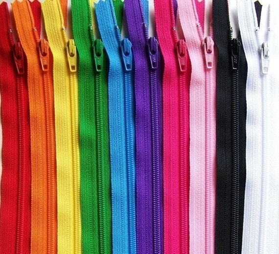 8 Inch Ykk Zipper Rainbow Sampler Pack 10 pcs red orange yellow green blue purple pink black white