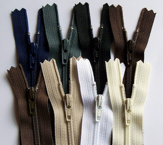 Earth Tones -YKK Zipper Sampler Pack - available in 4,5,6,7,8,9,10,12,14,16,18,20,22 and 28 Inches
