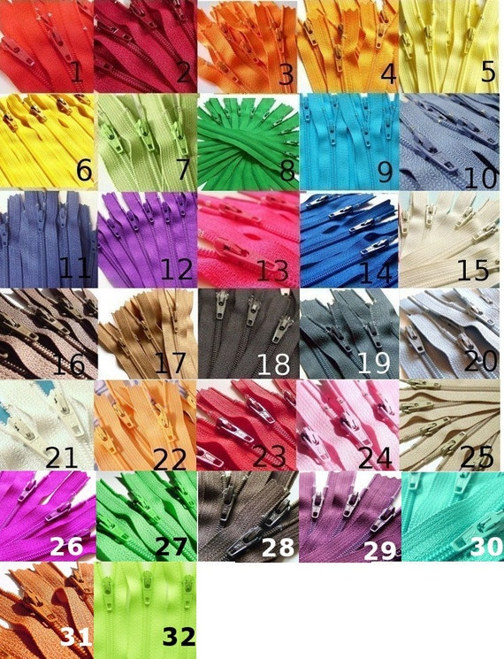 Your Choice of 10 YKK Brand 10 Inch Zippers Mix and Match orange red yellow green navy blue chocolate brown cream hot pink