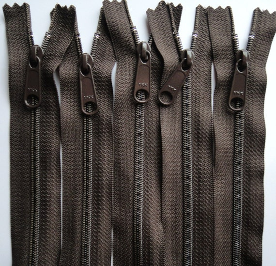 Five Autumn Brown 14 Inch 4.5 Ykk Purse Zippers with a Long Handbag Pull Color 141
