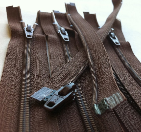 Five 6 Inch Brown 3mm Nylon Coil YKK Separating Zippers Color 568