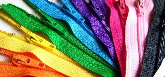 4 Inch Rainbow Zipper Sampler (10) ykk purse and pouch zippers