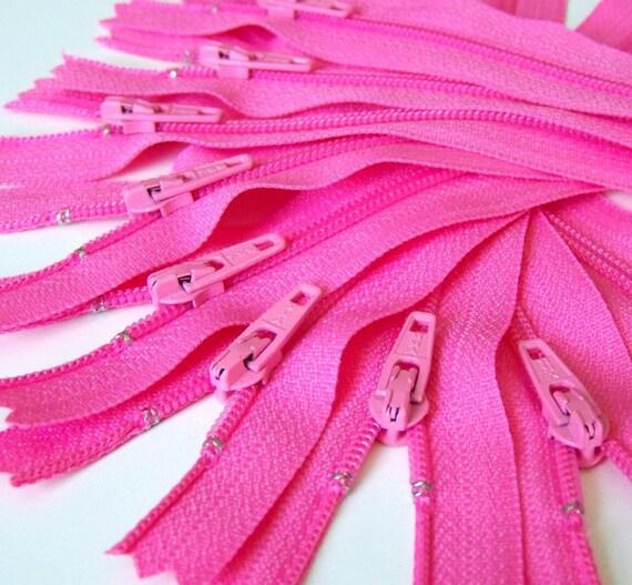 Ten Pink 14 Inch Zippers