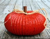 Large Primitive Pumpkin from a Dryer Duct - dancinglydenise