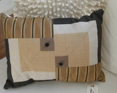 geometric funky modern linen designer fabric accent pillow