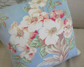 vintage fabric, farmhouse, cottage style, pillow cover, blue floral
