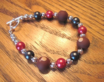 Ohio State Buckeye and Gray Pearl Bracelet with Polymer Clay Buckeyes