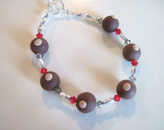 Red and Gray Swarovski crystals with Polymer Clay Buckeyes Bracelet