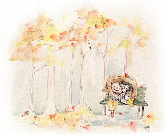 Reading in the Autumn Rain - Watercolor Ink print