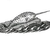 narwhal linocut print
